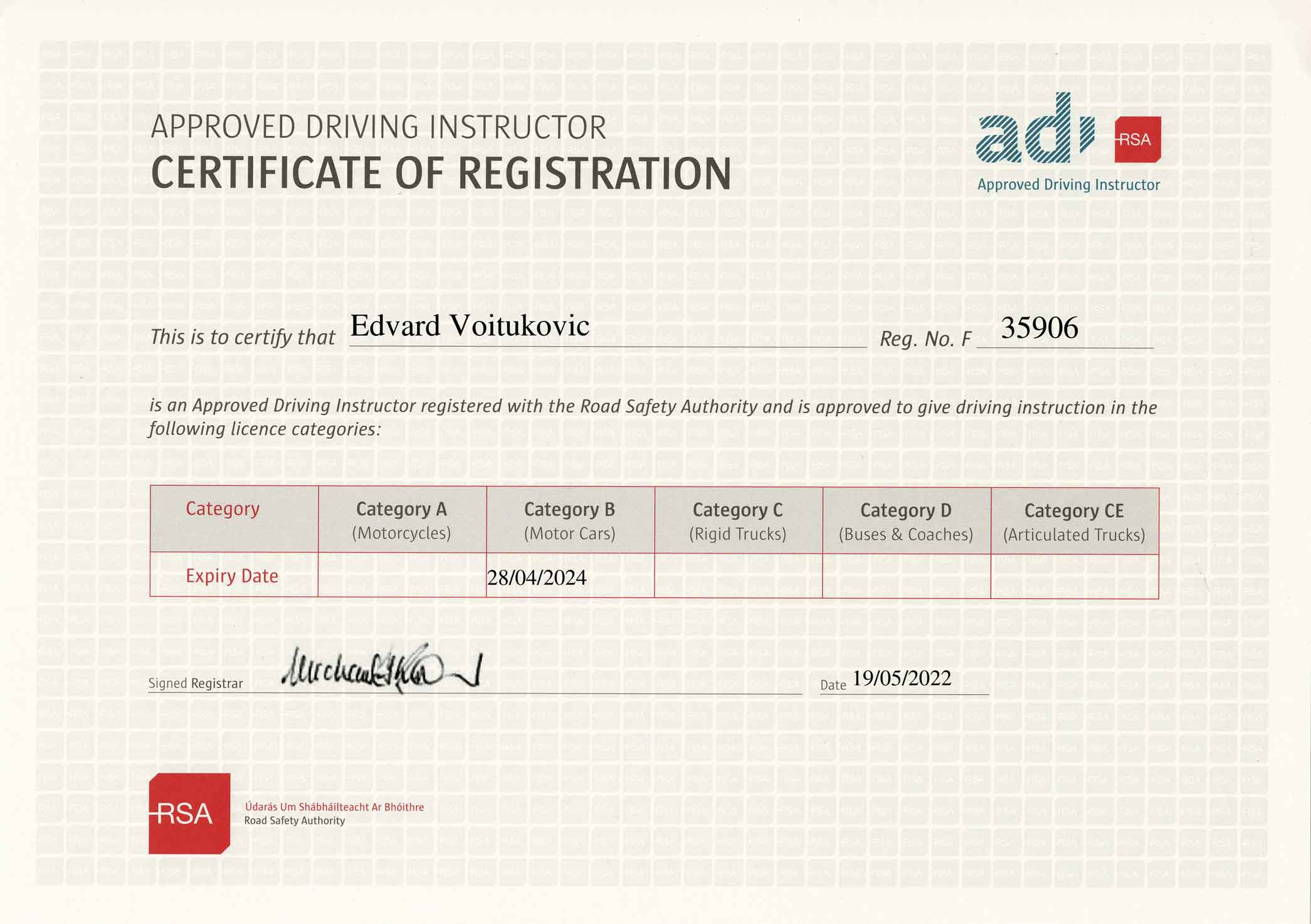 ADI Number: 35906. To work as a driving instructor in Ireland, an instructor must be on the RSA's Register of Approved Driving Instructors (ADI)